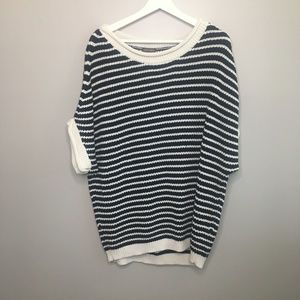 Vince Camuto Navy and White Striped Sweater